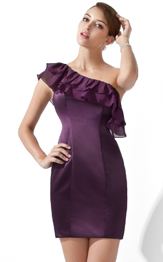 Forme Fourreau Encolure asymétrique Courte/Mini Mousseline Satiné Robe de cocktail (016013107)