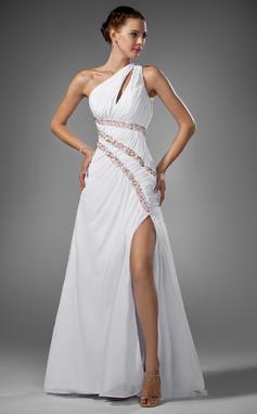 Corte A/Princesa Un hombro Barrer/Cepillo tren Gasa Vestido de baile de promoción con Volantes Cuentas Apertura frontal (018005081)