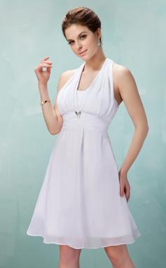 Forme Princesse Dos nu Longueur genou Mousseline Robe de demoiselle d'honneur avec Plissé Broche en cristal À ruban(s) (007018946)
