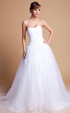Платье для Балла В виде сердца Церковный шлейф Шармёз Тюль Свадебные Платье с кружева (002012136)