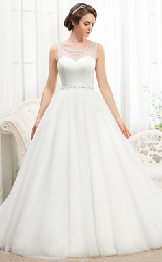 Balklänning Rund-urringning Court släp Satäng Tyll Bröllopsklänning med Pärlbrodering Paljetter (002055919)