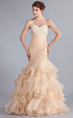 Trumpet/Mermaid Sweetheart Floor-Length Organza Prom Dress With Beading Appliques Lace Cascading Ruffles (018026261)