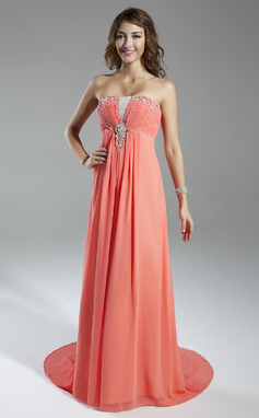 Empire Sweetheart Sweep Train Chiffon Holiday Dress With Ruffle Beading (020025962)