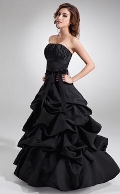 Платье для Балла Без лямок Длина до пола Атлас Пышное платье с Рябь Бант(ы) (021020324)