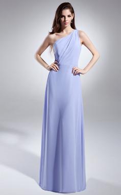 Forme Princesse Encolure asymétrique Longueur ras du sol Mousseline Robe de demoiselle d'honneur avec Plissé (008015616)