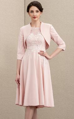 A-Linie U-Ausschnitt Knielang Spitze Strech-Krepp Kleid für die Brautmutter (008195380)