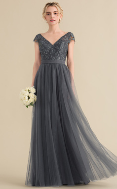 A-Line/Princess V-neck Floor-Length Tulle Lace Bridesmaid Dress With Beading Bow(s) (007144738)