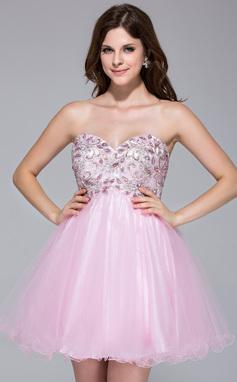Vestidos princesa/ Formato A Coração Curto/Mini Tule Vestido de boas vindas com Renda Bordado (022035710)