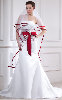 Trumpet/Mermaid Strapless Chapel Train Satin Wedding Dress With Lace Sash Crystal Brooch Bow(s) (002012654)