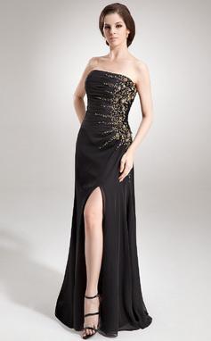Vestidos princesa/ Formato A Sem Alças Longos De chiffon Vestido de festa com Pregueado Bordado Lantejoulas Frente aberta (017016336)