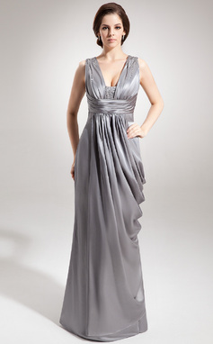 Sheath/Column V-neck Floor-Length Charmeuse Mother of the Bride Dress With Ruffle Beading (008016366)