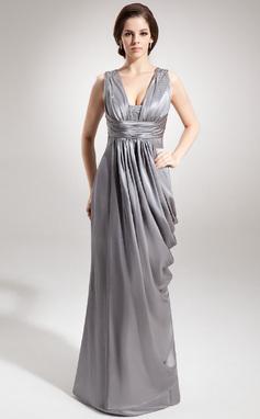 Платье-чехол V-образный Длина до пола Шармёз Платье Для Матери Невесты с Рябь Бисер (008016366)