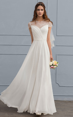 A-Line/Princess Scoop Neck Floor-Length Chiffon Wedding Dress With Ruffle (002119793)