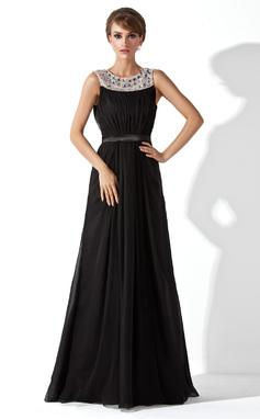 A-Linie/Princess-Linie U-Ausschnitt Bodenlang Chiffon Abendkleid mit Rüschen Perlen verziert (017020923)