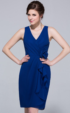 Sheath/Column V-neck Knee-Length Chiffon Bridesmaid Dress With Cascading Ruffles (007037297)