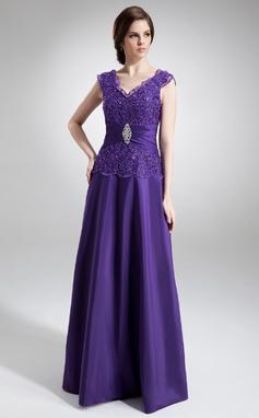A-Line/Princess V-neck Floor-Length Taffeta Mother of the Bride Dress With Ruffle Beading (008006011)