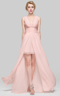 A-Line/Princess Scoop Neck Floor-Length Chiffon Bridesmaid Dress With Ruffle Lace Beading (007090231)