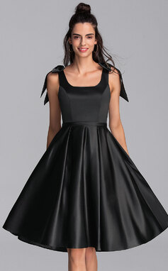 A-Line Square Neckline Knee-Length Satin Homecoming Dress With Bow(s) (022206519)