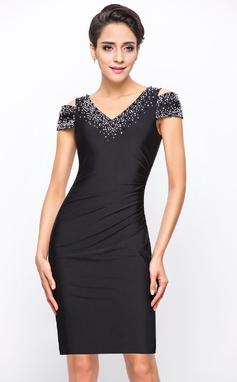 Платье-чехол Выкл-в-плечо Длина до колен Jersey Коктейльные Платье с развальцовка блестки (016055952)