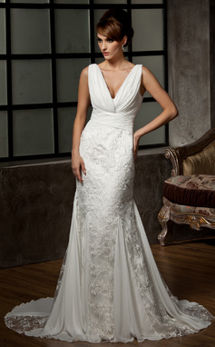 Mermaid V-neck Court Train Chiffon Charmeuse Lace Wedding Dresses With Ruffle Lace (002000583)
