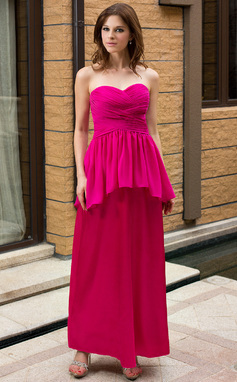 Sheath/Column Sweetheart Ankle-Length Maternity Bridesmaid Dress With Cascading Ruffles (007027254)