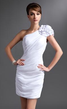 Платье-чехол Одно плечо Мини-платье шифон Платье Для Матери Невесты с Рябь Цветы (008016385)