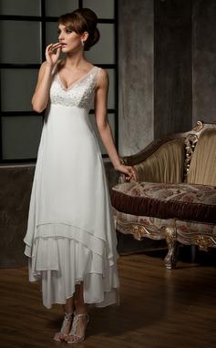A-linjeformat V-ringning Ankel-lång Chiffong Tyll Bröllopsklänning med Spets Beading Paljetter (002012655)
