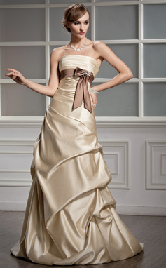 A-Line/Princess Strapless Court Train Satin Wedding Dress With Ruffle Sash Beading Bow(s) (002000469)
