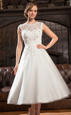 A-Line/Princess Scoop Neck Tea-Length Tulle Lace Wedding Dress With Beading Sequins (002054370)