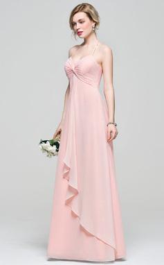 Empire Halter Floor-Length Chiffon Bridesmaid Dress With Cascading Ruffles (007083684)