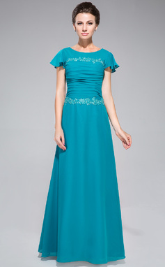 Sheath/Column Scoop Neck Floor-Length Chiffon Mother of the Bride Dress With Ruffle Lace Sequins (008042312)