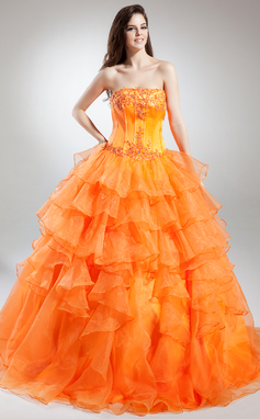 Ball-Gown Strapless Floor-Length Organza Quinceanera Dress With Beading Appliques Lace Cascading Ruffles (021015848)