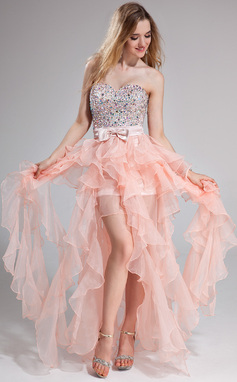 Vestidos princesa/ Formato A Coração Longos Organza de Vestido de baile com Bordado Curvado Babados em cascata (018025274)