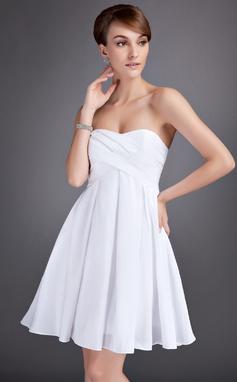 Império Coração Coquetel Tafetá Vestido de boas vindas com Pregueado (022010098)