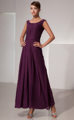 A-Line/Princess Scoop Neck Ankle-Length Chiffon Bridesmaid Dress With Ruffle (007014436)