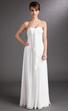 Empire Sweetheart Floor-Length Chiffon Wedding Dress With Cascading Ruffles (002001334)
