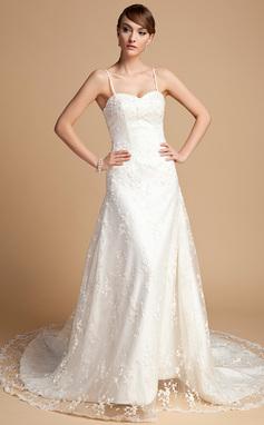 Forme Princesse Bustier en coeur Traîne mi-longue Dentelle Robe de mariée avec Emperler (002014722)