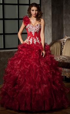 Duchesse-Linie One-Shoulder-Träger Bodenlang Organza Quinceañera Kleid (Kleid für die Geburtstagsfeier) mit Perlen verziert Applikationen Spitze Pailletten Gestufte Rüschen (021020578)