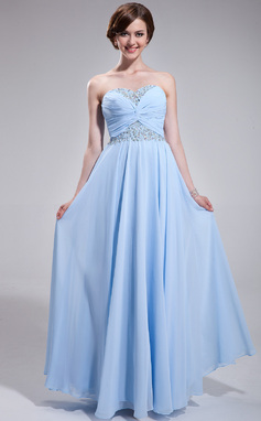 A-Line/Princess Sweetheart Floor-Length Chiffon Prom Dress With Ruffle Beading (018025273)