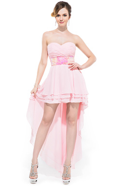 A-Line/Princess Sweetheart Asymmetrical Chiffon Prom Dress With Ruffle Sequins (017041054)