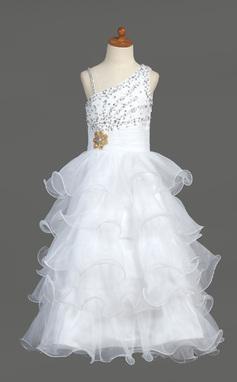A-Line/Princess Floor-length Flower Girl Dress - Organza/Satin Sleeveless V-neck With Ruffles/Beading/Sequins (010007368)