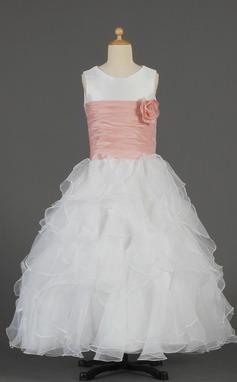 A-Line/Princess Floor-length Flower Girl Dress - Taffeta/Organza Sleeveless Scoop Neck With Ruffles/Sash/Flower(s) (010014632)