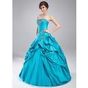 Платье для Балла В виде сердца Длина до пола Тафта Пышное платье с Вышито Рябь Бисер (021002883)