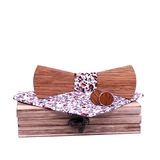 Classic Modern Wood Bow Tie Cufflinks Pocket Square (200198608)