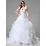Платье для Балла V-образный Церковный шлейф Органза Свадебные Платье с кружева Бисер блестками Ниспадающие оборки (002004781)