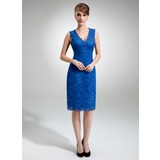 Sheath/Column V-neck Knee-Length Lace Mother of the Bride Dress (008006292)