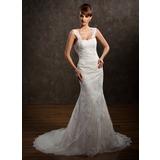 Trompete/Sereia Coração Cauda longa Tule Vestido de noiva com Bordado Apliques de Renda (002011449)
