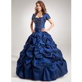 De baile Coração Longos Tafetá Vestido quinceanera com Pregueado Bordado Apliques de Renda Lantejoulas (021004560)