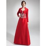 A-Linie/Princess-Linie Herzausschnitt Bodenlang Taft Brautjungfernkleid mit Bestickt Perlen verziert (007002101)