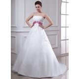Empire Strapless Chapel Train Organza Wedding Dress With Lace Sash Crystal Brooch (002000129)